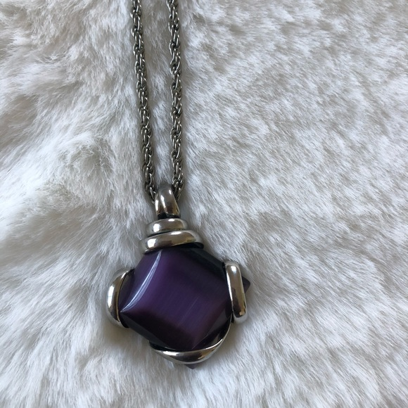 JS Collections Jewelry - JS Silver Tone Purple Pendant Necklace.
